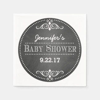 Modern Chalkboard Baby Shower Paper Napkin