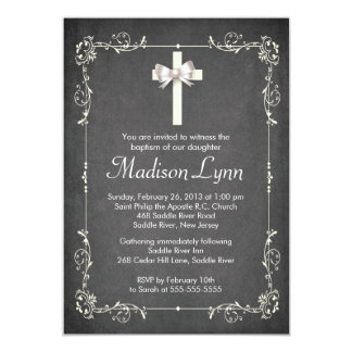 Modern Chalkboard Baptism Christening Cross 13 Cm X 18 Cm Invitation Card