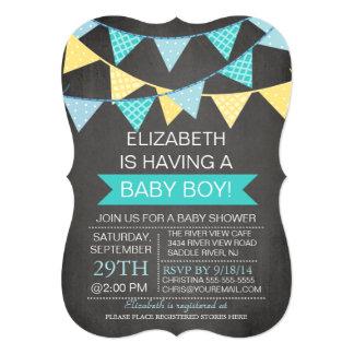 Modern Chalkboard Bunting Boys Baby Shower 13 Cm X 18 Cm Invitation Card