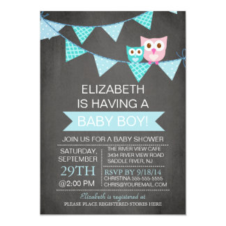 Modern Chalkboard Bunting Owl Boy Baby Shower 13 Cm X 18 Cm Invitation Card