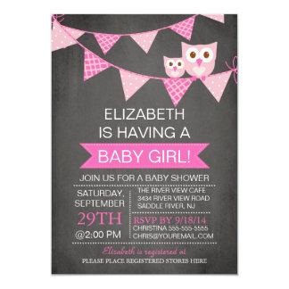 Modern Chalkboard Bunting Owl GIRL Baby Shower 13 Cm X 18 Cm Invitation Card