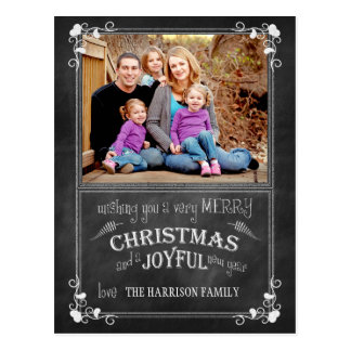 Modern Chalkboard Christmas Photo Postcard