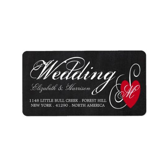 Modern Chalkboard Fancy Heart Wedding Label