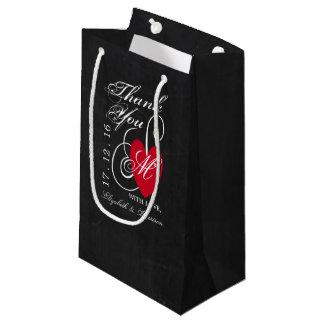 Modern Chalkboard Fancy Heart Wedding Small Gift Bag