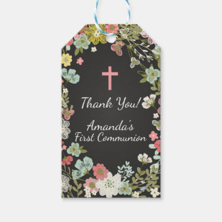 Modern Chalkboard Floral First Communion Gift Tag