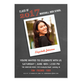 Modern Chalkboard Graduation Invitation with Photo