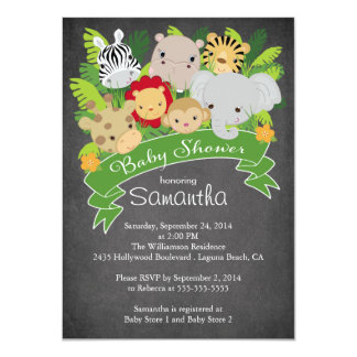 Modern Chalkboard Jungle Safari Animal Baby Shower 11 Cm X 16 Cm Invitation Card