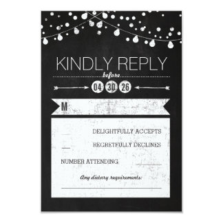Modern Chalkboard Lights Wedding RSVP Card