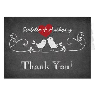 Modern Chalkboard Love Birds Thank You Note Card