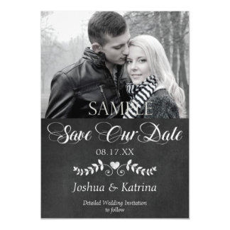 Modern Chalkboard Save the Date Wedding Photo Magnetic Card
