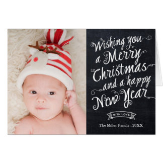Modern Chalkboard Script Christmas Photo Card