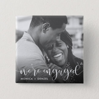 Modern Chalkboard & Script Engagement Party Photo 15 Cm Square Badge