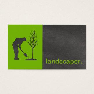 Modern Chalkboard Silhouette Landscaper | green Business Card