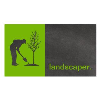 Modern Chalkboard Silhouette Landscaper | green Pack Of Standard Business Cards