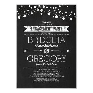 Modern Chalkboard String Lights Engagement Party 13 Cm X 18 Cm Invitation Card