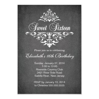 Modern Chalkboard Sweet Sixteen Birthday Party 13 Cm X 18 Cm Invitation Card