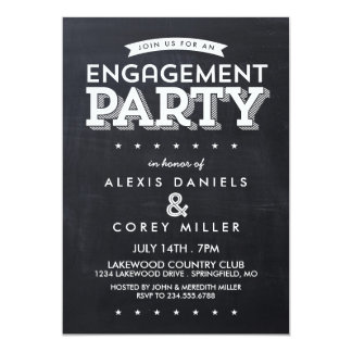 Modern Chalkboard Typography Engagement Party Card