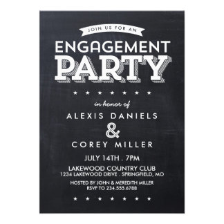 Modern Chalkboard Typography Engagement Party Invitation