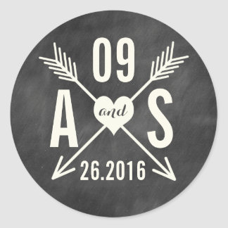 MODERN CHALKBOARD WEDDING ROUND STICKER