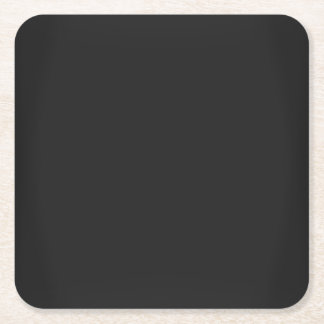 Modern Charcoal Black Customisable Square Paper Coaster
