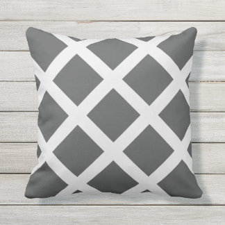 Modern Charcoal Gray and White Criss Cross Stripes Outdoor Cushion