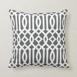 Modern Charcoal Gray and White Imperial Trellis Throw Cushions