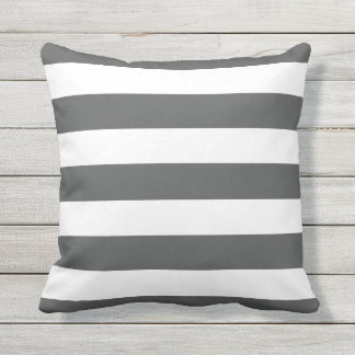 Modern Charcoal Gray and White Stripes Cushion