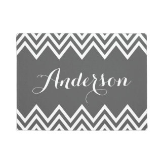 Modern Charcoal Gray Chevron Custom Monogram Doormat