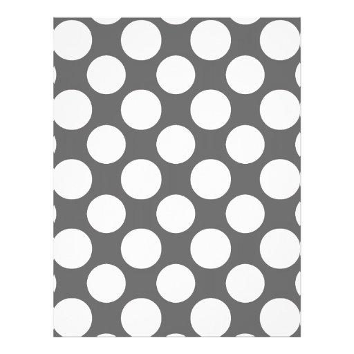 Modern Charcoal Gray White Polka Dots Pattern Custom Flyer