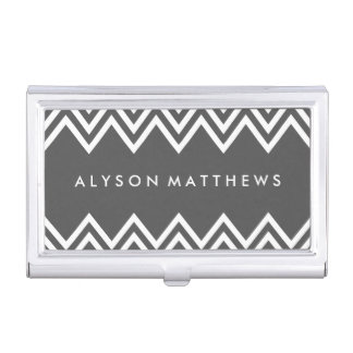 Modern Charcoal Grey and White Chevron Business Card Case