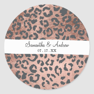 Modern charcoal grey rose gold leopard pattern round sticker