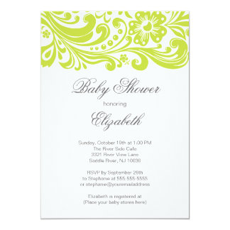 Modern chartreuse Green Floral Swirl Baby Shower Card