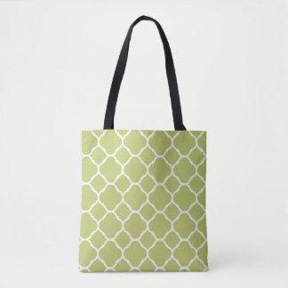 Modern Chartreuse, Quatrefoil Pattern Tote Bag
