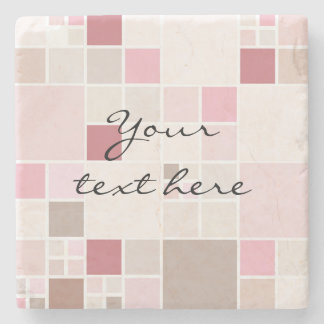 Modern Checkered Mosaic Pastel Stone Coaster