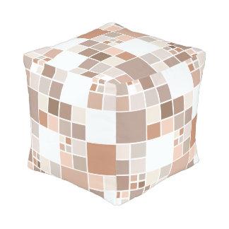 Modern Checkered Mosaic Tan Greige Pouf