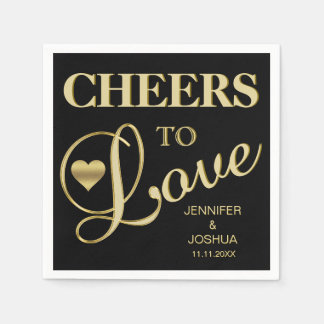 Modern CHEERS TO LOVE Black Heart Gold Wedding Disposable Napkin