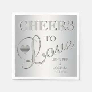Modern CHEERS TO LOVE Silver Grey Wedding Paper Napkins