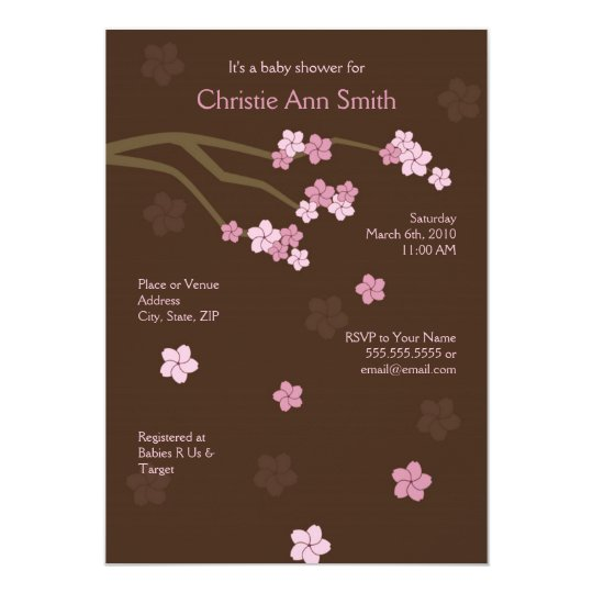 modern cherry blossoms baby shower invitation zazzle. Black Bedroom Furniture Sets. Home Design Ideas