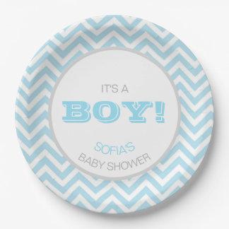Modern Chevron Blue Grey It's a Boy! Baby Shower 9 Inch Paper Plate