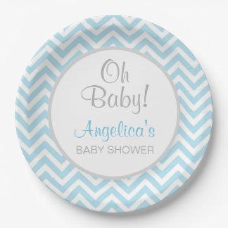 Modern Chevron Blue Grey Oh Baby Baby Shower Boy Paper Plate