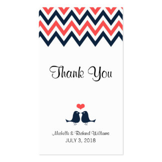 Modern Chevron (Coral Navy) Thank You Favor Tag Pack Of Standard Business Cards