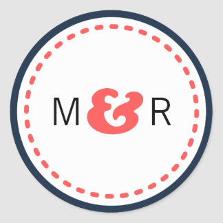 Modern Chevron (Coral & Navy) Wedding Monogram Round Sticker