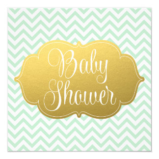 Modern Chevron Gold Mint Baby Shower 13 Cm X 13 Cm Square Invitation Card