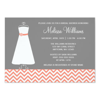 Modern Chevron Gown Coral Gray Bridal Shower 4.5x6.25 Paper Invitation Card