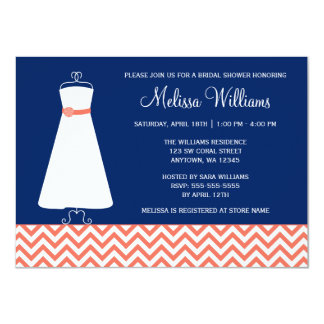 Modern Chevron Gown Coral Navy Blue Bridal Shower Card