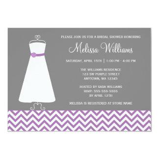 Modern Chevron Gown Purple Grey Bridal Shower 11 Cm X 16 Cm Invitation Card