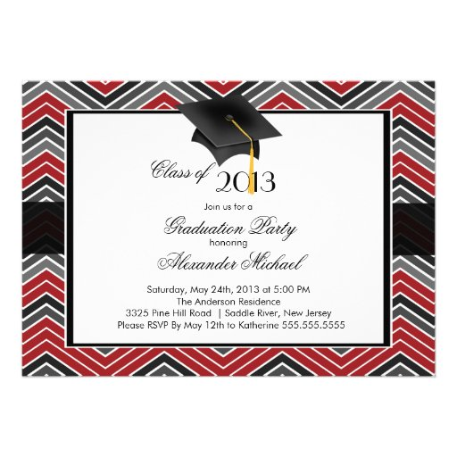 Modern Chevron Graduate Tassel Graduation Party Invitation