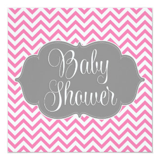 Modern Chevron Gray Pink Girl Baby Shower Card