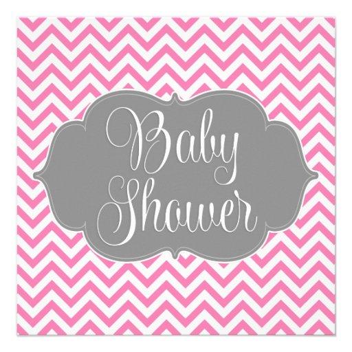 Modern Chevron Gray Pink Girl Baby Shower Personalized Invites