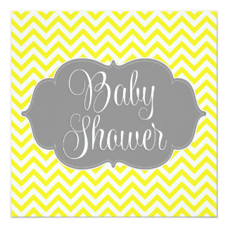 Modern Chevron Gray Yellow Baby Shower Card